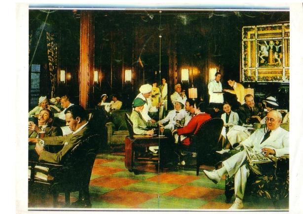 """Koniec lat 30. Lobby na statku """"President Collidge"""". W tle Dama z Jednorożcem. Zdjęcie udostępnione przez Allana Powera."""