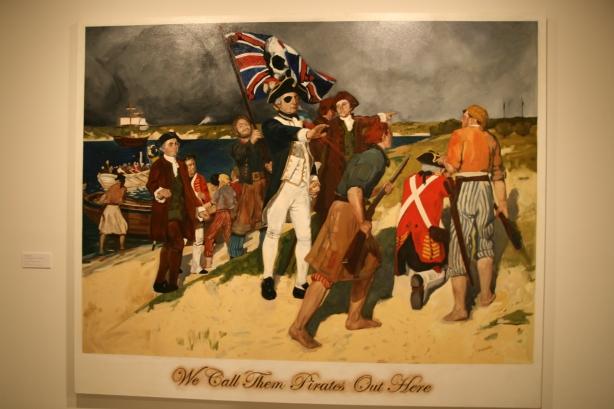 Lądowanie kapitana Cooka wg. aborygeńskiego malarza sztuki współczesnej.
