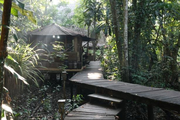 Hostel na bagnach w rozlewisku Rio Dulce.